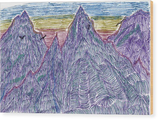 Mountains Wood Print by Lynnette Jones