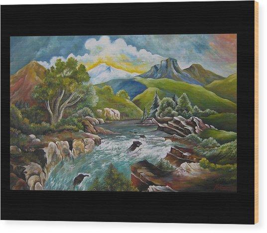 Mountain's River Wood Print by Netka Dimoska