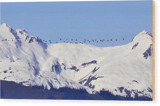 Mountaintop Geese Wood Print