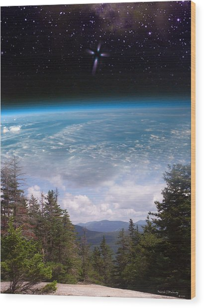 Mountaintop Space View Wood Print by Patrick J Maloney
