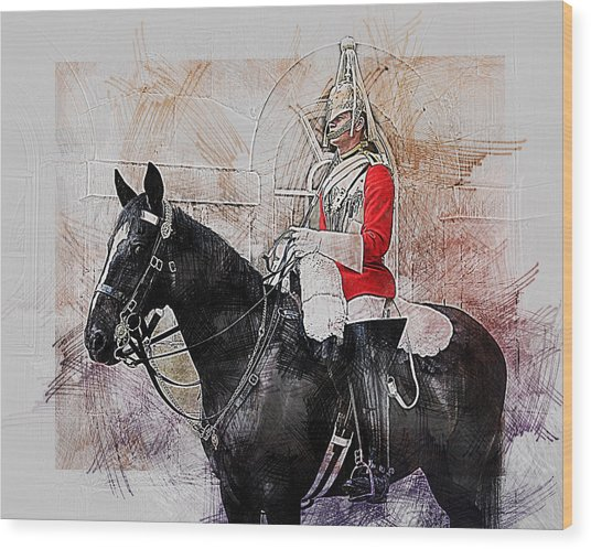 Mounted Household Cavalry Soldier On Guard Duty In Whitehall Lon Wood Print