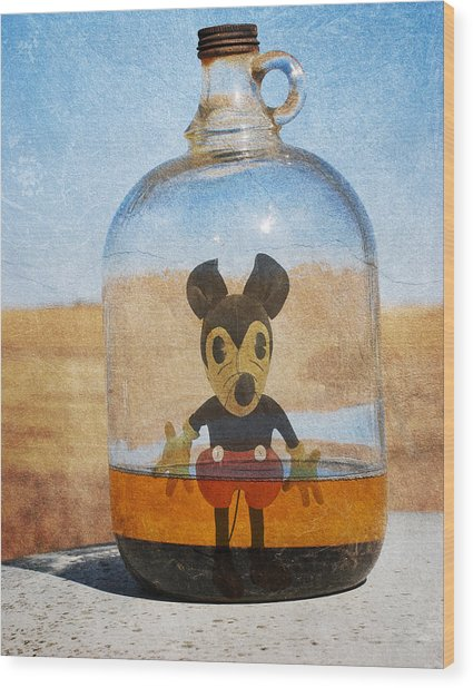 Mouse In A Bottle  Wood Print