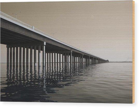 Mprints - Hwy 90 Bridge Wood Print by M  Stuart