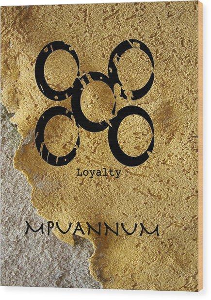 Mpuannum Adinkra Symbol Wood Print