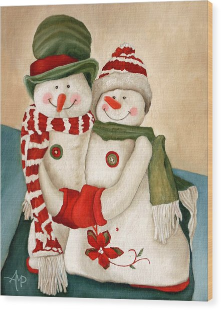 Mr. And Mrs. Snowman Vintage Wood Print