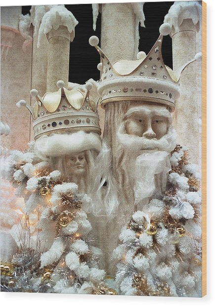 Mr And Mrs Winter Wood Print by Barry Shaffer