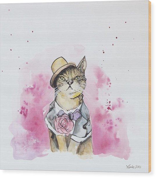 Mr Cat In Costume Wood Print
