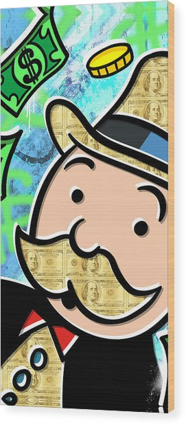Mr Monopoly Wood Print