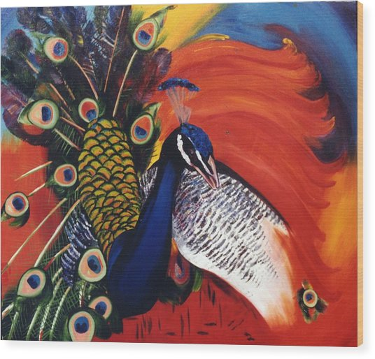 Mr Peacock Wood Print