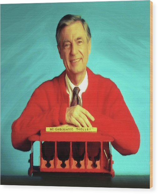 Mr Rogers With Trolley Wood Print