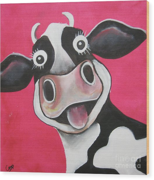 Mrs Cow Wood Print
