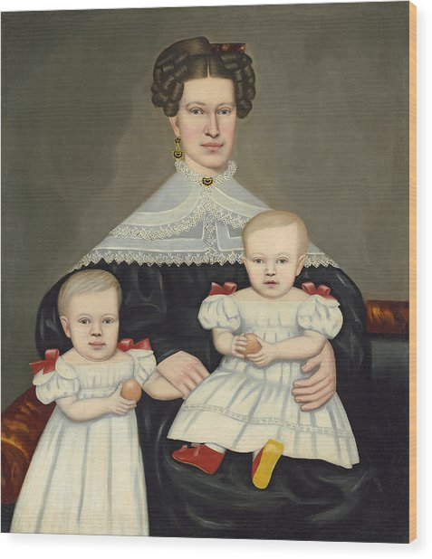 Mrs Paul Smith Palmer And Her Twins Wood Print