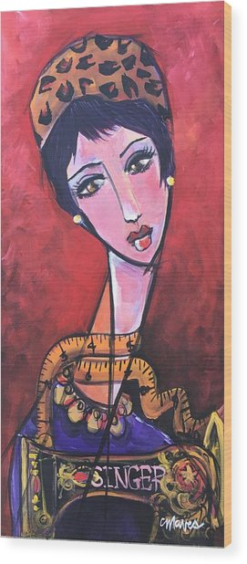 Wood Print featuring the painting Ms. Bimba Fashionable Seamstress by Laurie Maves ART