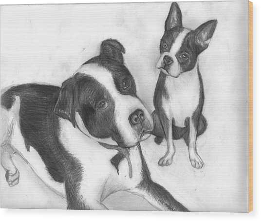 Ms Proutys Dogs Wood Print by Katie Alfonsi