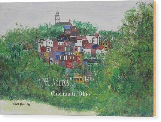 Mt Adams Cincinnati Ohio With Title Wood Print