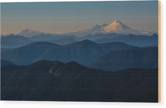 Mt. Baker From Mt. Pilchuck Wood Print