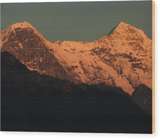Mt. Eiger And Mt. Moench At Sunset Wood Print