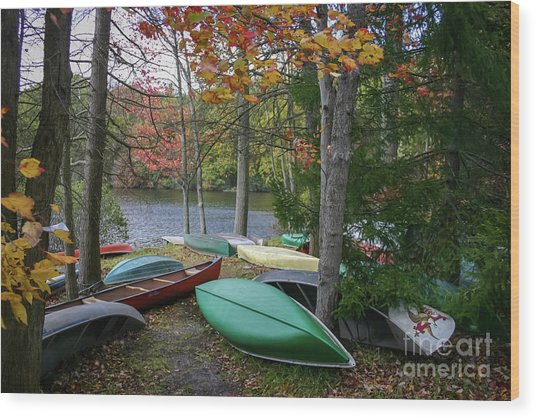 Mt. Gretna Canoes Wood Print
