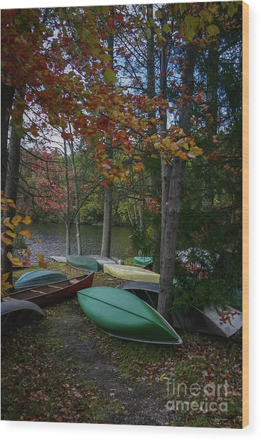 Mt. Gretna Canoes In Fall Wood Print
