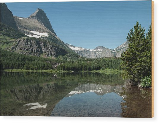 Mt. Grinnell Across Red Rock Lake Glacier National Park Wood Print