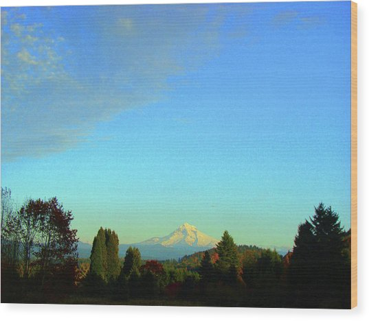Mt Hood Just Before Sunset Wood Print