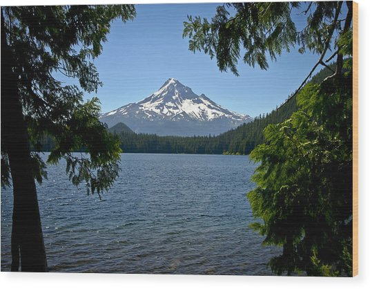 Mt Hood Over Lost Lake Wood Print