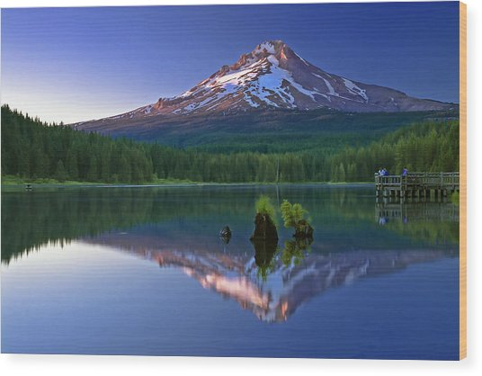 Mt. Hood Reflection At Sunset Wood Print