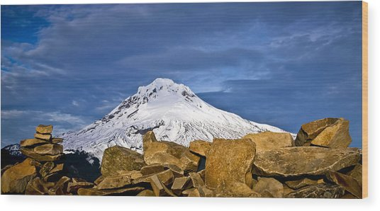 Mt Hood With Talus Wood Print