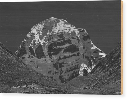 Mt. Kailash In Moonlight, Dirapuk, 2011 Wood Print