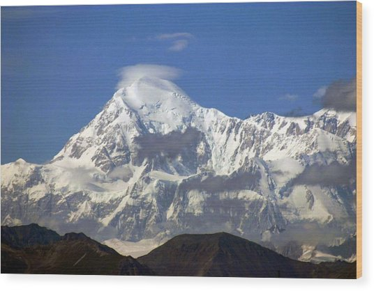 Mt. Mckinley Circling Wind Wood Print by Jack G  Brauer