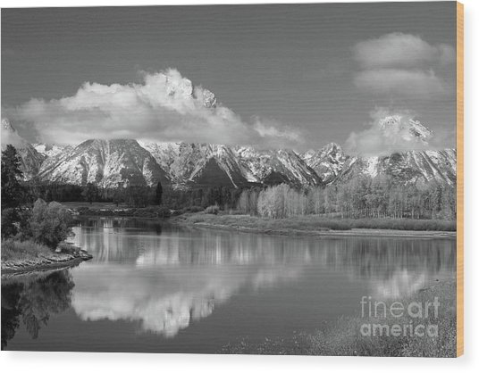 Mt. Moran  In Black And White Wood Print