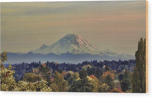 Mt Rainer Fall Color Rising Wood Print