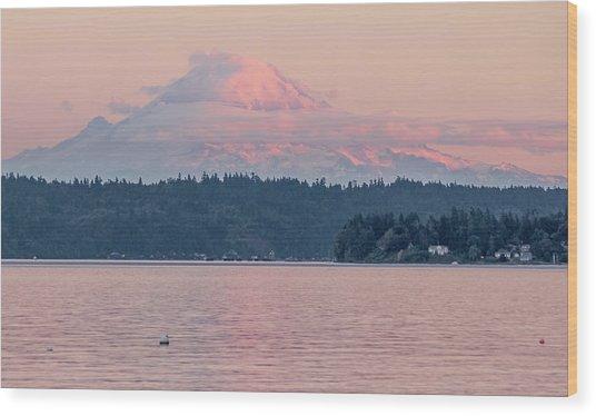 Mt. Rainier At Sunset Wood Print