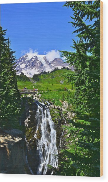 Mt. Rainier From Myrtle Falls Wood Print