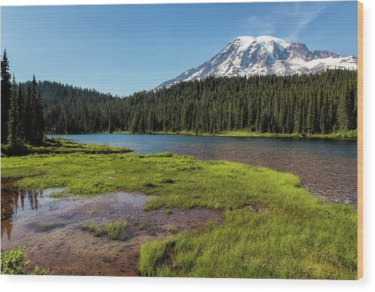 Mt Rainier From Reflection Lake, No. 2 Wood Print