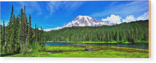 Mt. Rainier From Reflection Lakes Wood Print