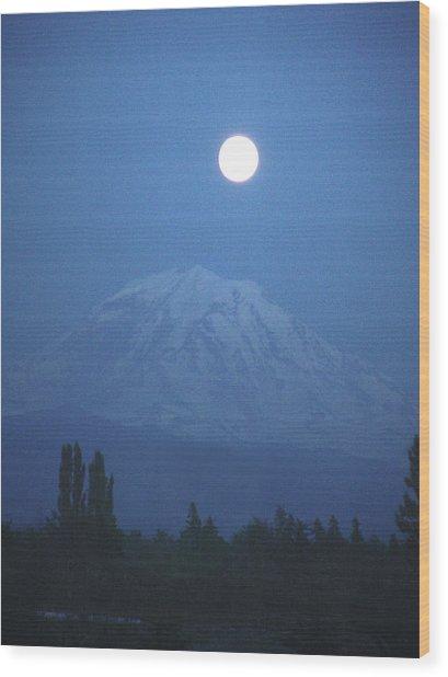 Mt Rainier Full Moon Wood Print
