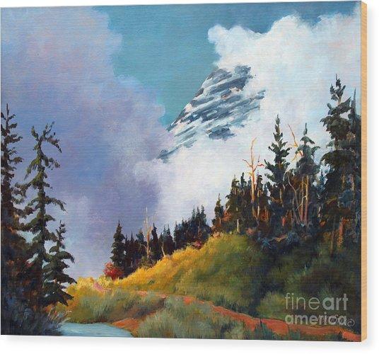 Mt. Rainier In Clouds Wood Print