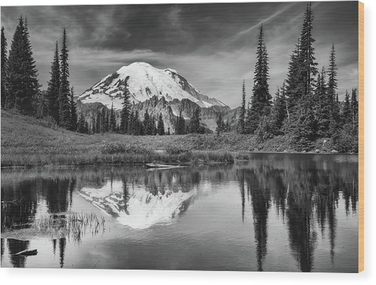 Mt Rainier In Reflection Wood Print