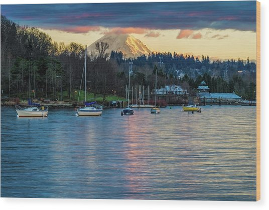 Mt Rainier In View Wood Print
