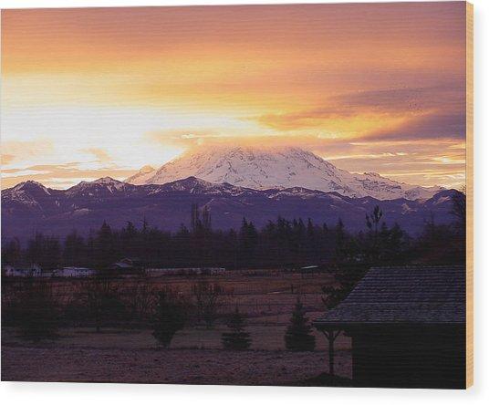 Mt. Rainier On Fire Wood Print