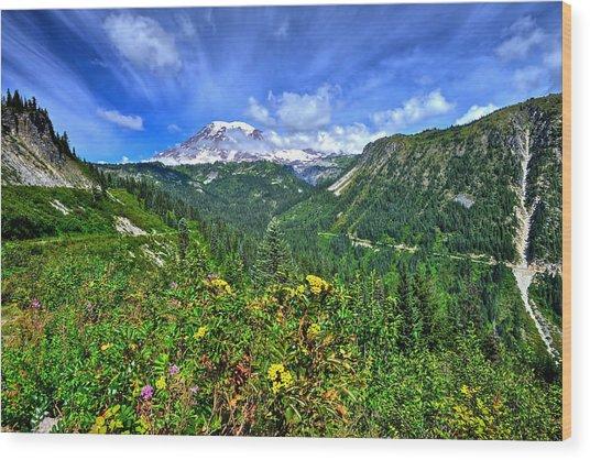 Mt. Rainier Through The Clouds  Wood Print
