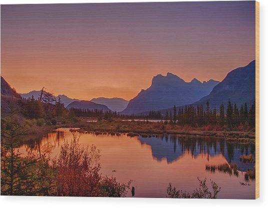 Wood Print featuring the photograph Mt. Rundle 2009 11 by Jim Dollar