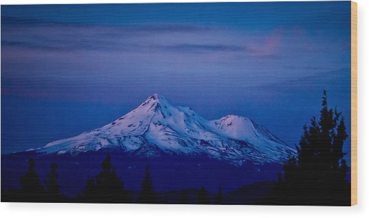 Mt Shasta At Sunrise Wood Print