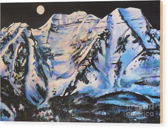 Mt. Timpanogos Under A Full Moon Wood Print