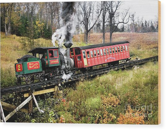 Mt Washington Cog Railway And Train Wood Print