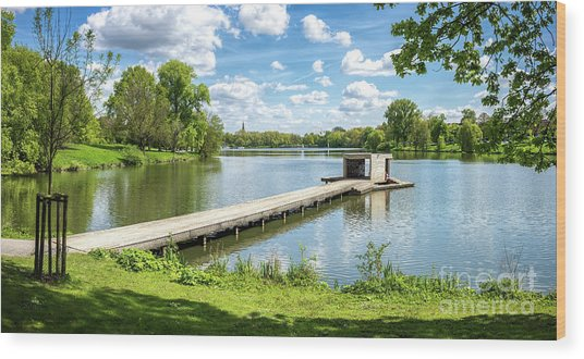 Muenster Aasee Panoramic View Wood Print