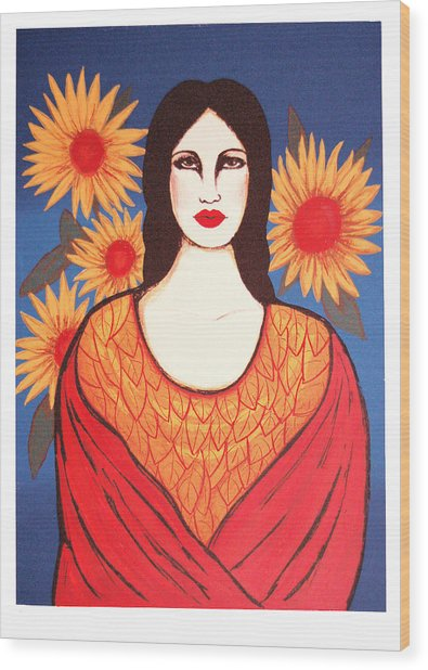 Mujer Con Flores Wood Print by Laura Lopez Cano