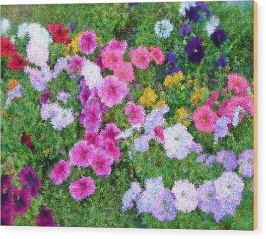 Multi Color Flowers Wood Print by Ralph Liebstein