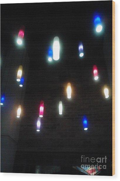 Multi Colored Lights Wood Print